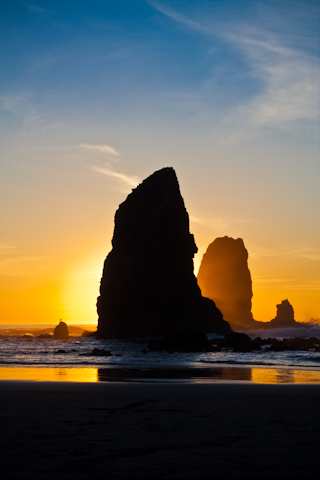 Cannon Beach Rocks at sunset - Photos By Orion