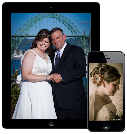 Wedding Photography shown on a tablet and mobile device