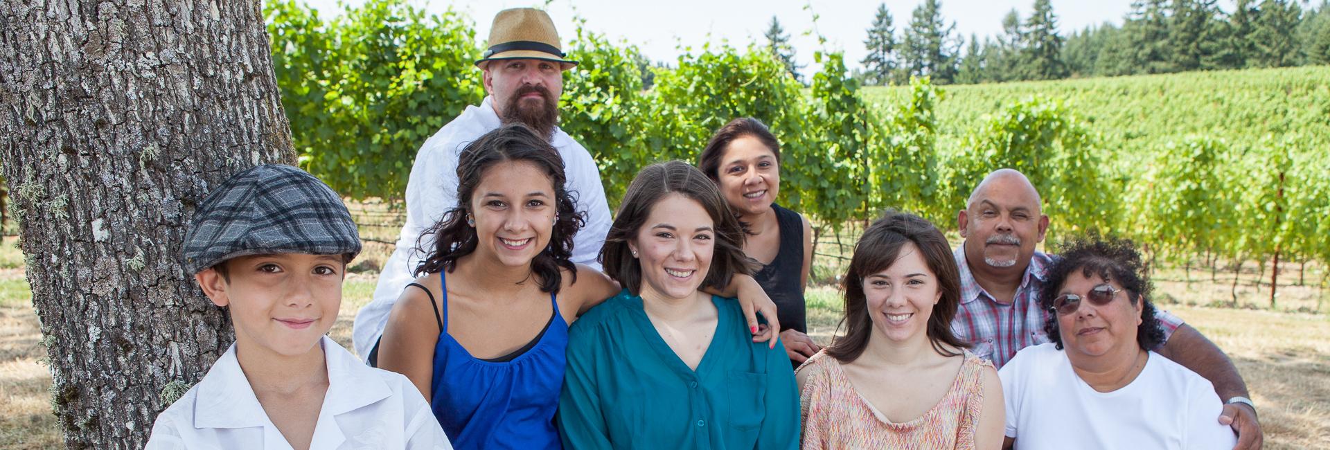 Family portrait at Zenith Vineyard in Zenith Oregon