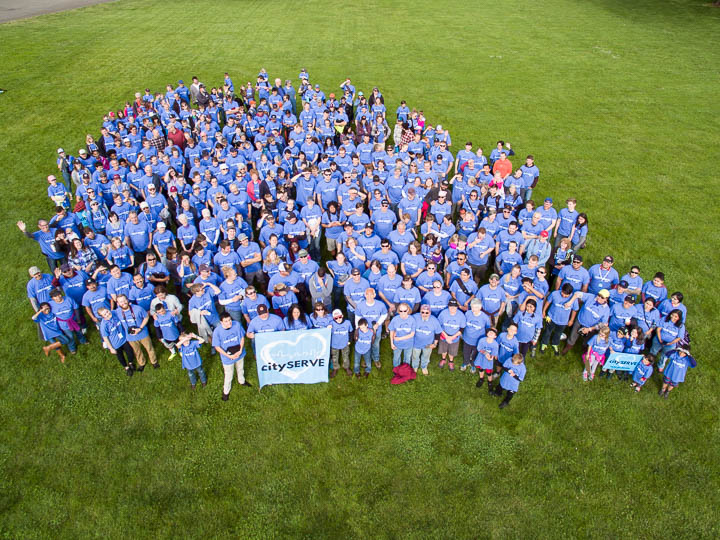 Drone photo of a large group of volunteers in Benton County Oregon