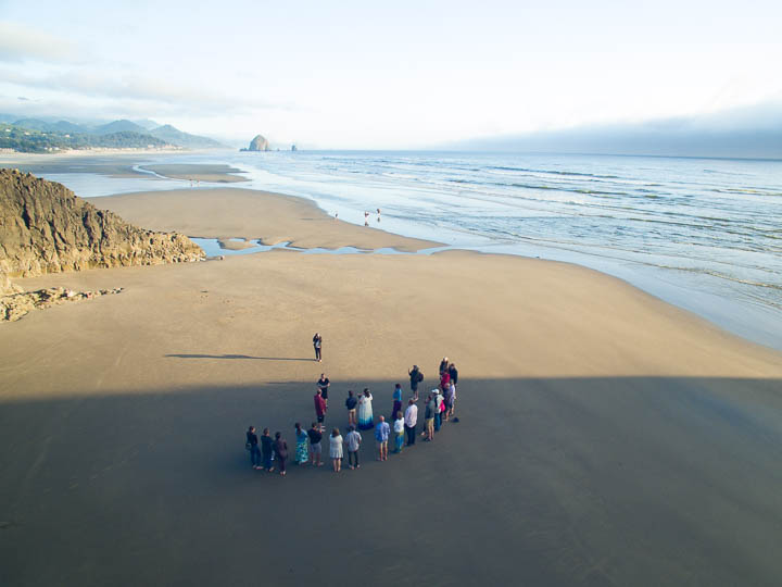 Drone photo of a held on the beach at Cannon Beach Oregon