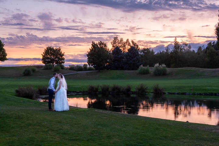 Wedding portrait at sunset on the course at Langdon Farms in Aurora Oregon